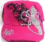 Wholesale Distressed Rhinestone Castro Caps - Lovely Cat - Hot Pink