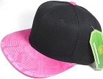 Wholesale Faux Smooth Silk Plain Snapback - Stuffed Bear - Hot Pink - Black Crown