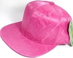 Wholesale Faux Smooth Silk Plain Snapback - Stuffed Bear - Hot Pink - Solid