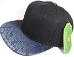 Wholesale Faux Smooth Silk Plain Snapback - Stuffed Bear - Navy Blue - Black Crown