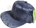 Wholesale Faux Smooth Silk Plain Snapback - Stuffed Bear - Navy Blue - Solid
