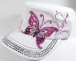 Wholesale Rhinestone Cadet Hat Castro Caps - Butterfly - White