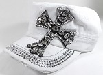 Wholesale Distressed Rhinestone Cadet Hat - Crystal Cross - White