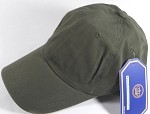 Washed 100% Cotton Plain Baseball Cap - Gold Metal Buckle - Olive Green