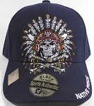 Wholesale Native Pride Baseball Cap - Chieftain Skull - Navy