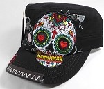 Wholesale Rhinestone Leather Patch Cadet Hats - Rose Sugar Skull - Black