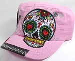 Wholesale Rhinestone Leather Patch Cadet Hats - Rose Sugar Skull - Light Pink