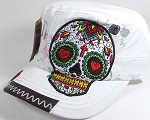 Wholesale Rhinestone Leather Patch Cadet Hats - Rose Sugar Skull - White