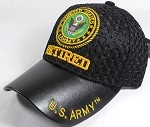 Wholesale AirMesh with Leather Brim Military Baseball Cap - US Army Retired