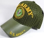 Wholesale AirMesh with Leather Brim Military Baseball Cap - US Army Emblem (Olive Green)