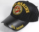 Wholesale AirMesh with Leather Brim Military Baseball Cap - US Marine Emblem