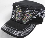 Rhinestone Cadet Hat Castro Caps Wholesale - Butterfly - Black