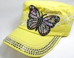 Rhinestone Cadet Hat Castro Caps Wholesale - Butterfly - Yellow