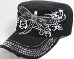 Distressed Rhinestone Cadet Hat Castro Caps Wholesale - Dragonfly - Black