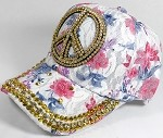 Rhinestone Floral Bling Baseball Caps Wholesale - Peace - Navy