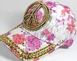 Rhinestone Floral Bling Baseball Caps Wholesale - Peace - Hot Pink