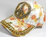 Rhinestone Floral Bling Baseball Caps Wholesale - Peace - Yellow