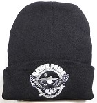 Wholesale Native Pride Long Cuff Beanie - Flying Eagle - Black
