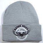 Wholesale Native Pride Long Cuff Beanie - Flying Eagle - Gray