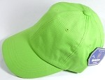 Washed 100% Cotton Plain Baseball Cap - Gold Metal Buckle - Lime Green