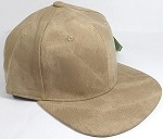 PU Suede Wholesale Blank Snapback Caps - Solid - Khaki