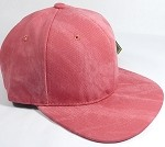 PU Suede Wholesale Blank Snapback Caps - Solid - Strawberry Red