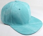 PU Suede Wholesale Blank Snapback Caps - Solid - Turquoise