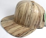 Colored Woodprint Solid Blank Snapback Hats Wholesale - Khaki