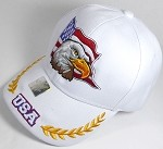 Wholesale USA Eagle Baseball Caps - White