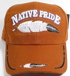 Wholesale Native Pride Baseball Cap - Feather - Sand Brown / Texas Orange