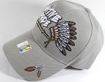 Wholesale Native Pride Baseball Cap - Chieftain's Peace Pipe - Light Grey