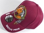 Wholesale Native Pride Baseball Cap - Horse Dream Catcher - Burgundy