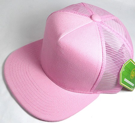 Wholesale Mesh Trucker 5 Panel Snapback Blank Hats - Solid - Light Pink