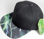Wholesale Thunder Blank Snapback Caps - Green - Black Crown