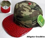 Wholesale Blank Alligator Brim Snapback Hats - Camo | Red