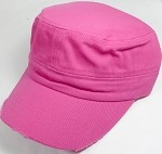 Blank Cadet Hats Wholesale - Hot Pink Vintage Distressed Cap