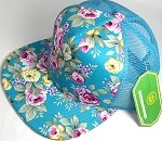 Wholesale Mesh Trucker 5 Panel Snapback Blank Hats - Floral Rose - Turquoise