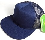 Wholesale Mesh Trucker 5 Panel Snapback Blank Hats - Solid - Navy