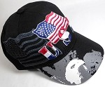 Wholesale USA Wavy American Flag and Eagle Black Baseball Cap
