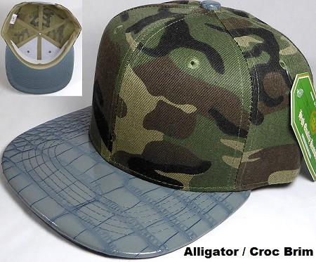Wholesale Blank Alligator Brim Snapback Hats - Camo | Gray