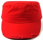 Blank Cadet Hats Wholesale - Red Vintage Distressed Cap