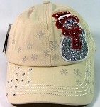 Wholesale Rhinestone Winter Snowman Baseball Caps - Khaki