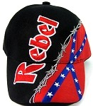 REBEL & Confederate Flag & Wire Print Baseball Caps Wholesale