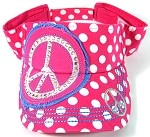 Rhinestone Bling Polka Dots Peace Sign Visors Wholesale - Hot Pink