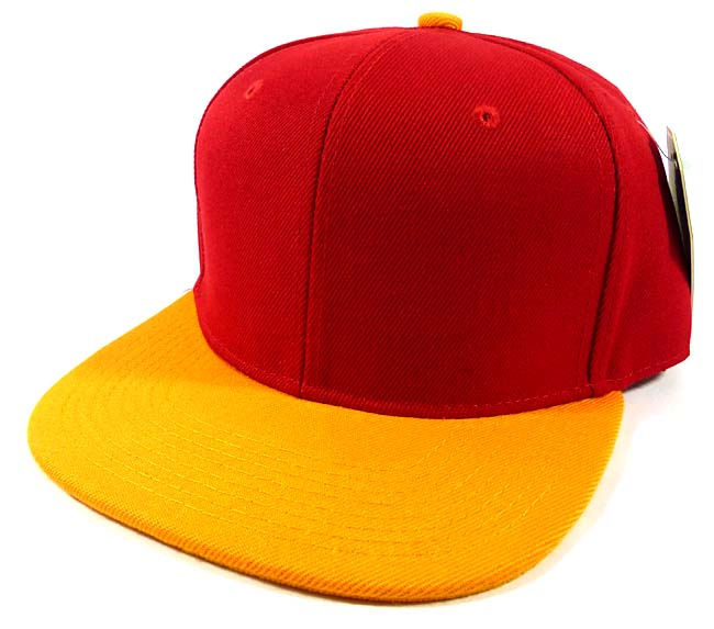 eda1c645791 Wholesale Blank Snapback Hats Red Yellow - Plain Flat Bill Caps