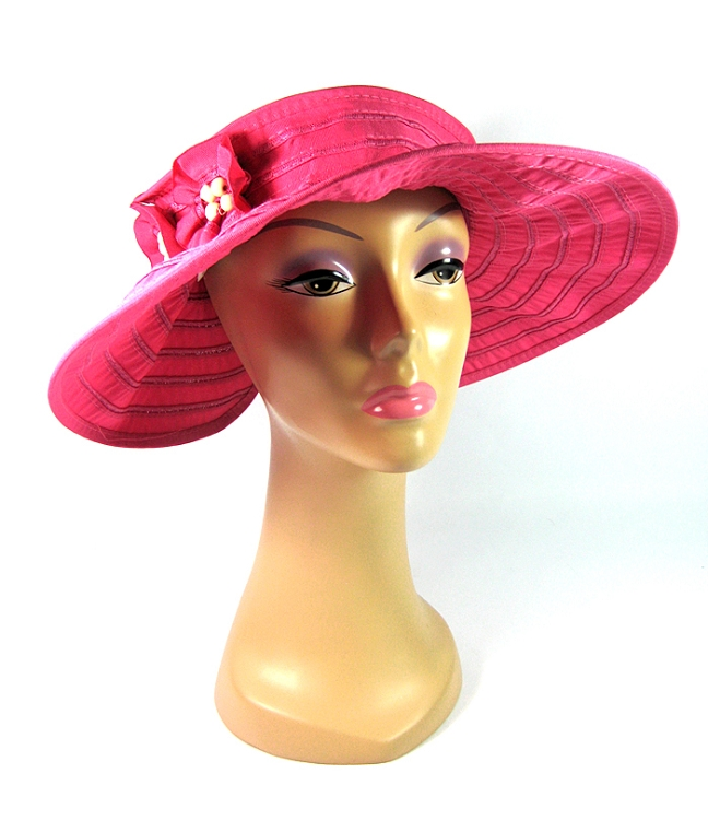 59eb32ee Women's Sun Hat Visors with Flowers and Beads Wholesale - All Solid Colors