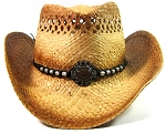 Cowboy Western Straw Hat Wholesale - Toasted Edges, Beads, Strings