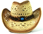 Western Cowboy Straw Hats Wholesale - Bead Band | Outback Toyo Tea Stained