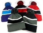 Pom Pom Beanies Trendy Winter Hats Wholesale 2 (bk/gold 1 pc)