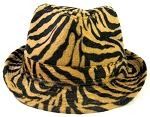 Fedora Hats Wholesale - Animal Print Zebra - Black/Sand Brown
